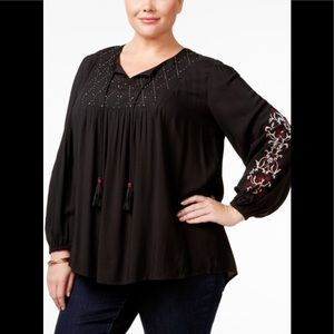 Style & Co. Embroidered Blouse Sz 2X (J08)